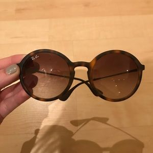 Ray Ban Round Eye  Gunmetal Tortoise Sunglasses